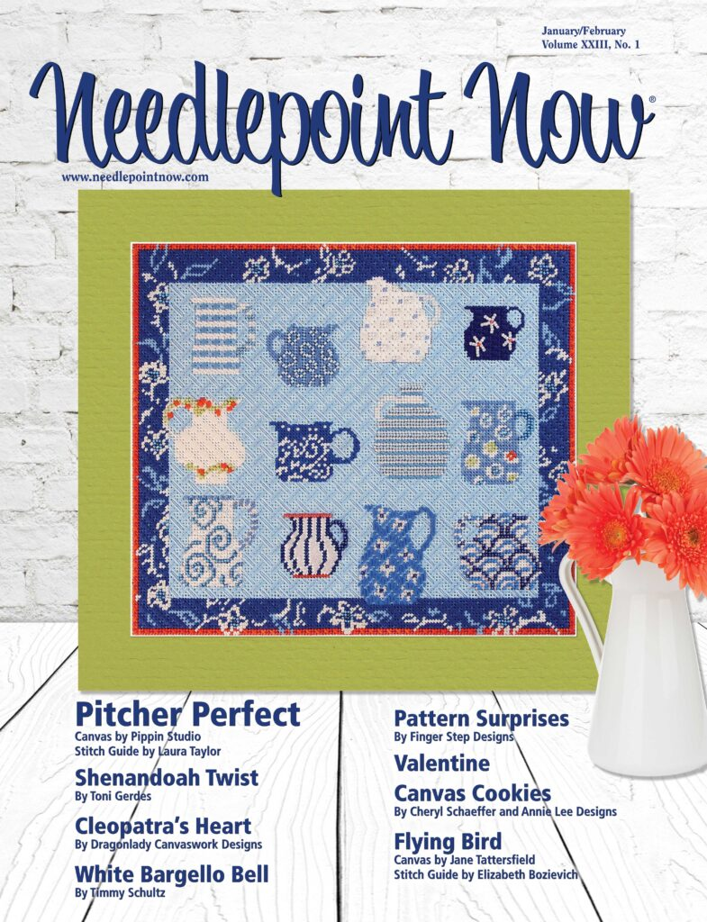 Needlepoint Now Magazine cover of January/February 2021 issue